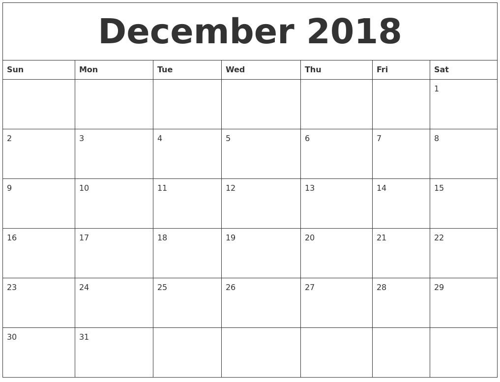 december 2018 printable calendar pages
