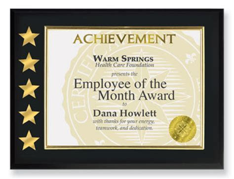 Fashion a Meaningful Employee of the Month Certificate