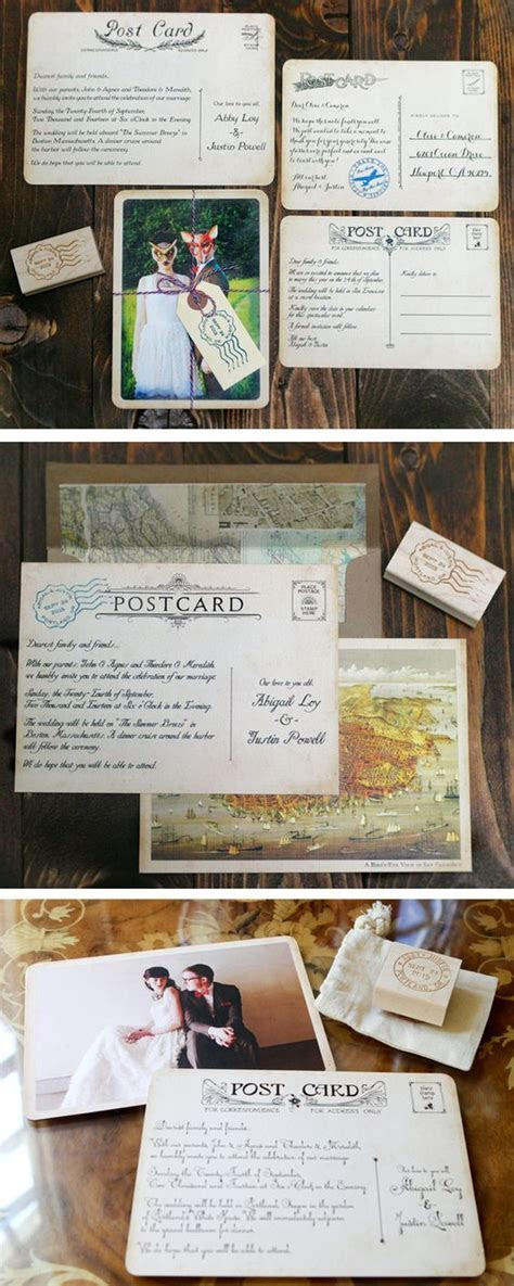 Create Your Own Vintage Postcard Wedding Invitation & Save
