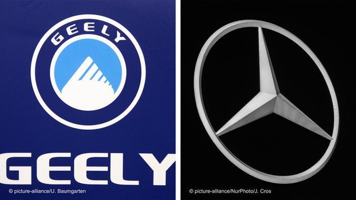 Bildkombo der Firmenlogos - Geely und Daimler