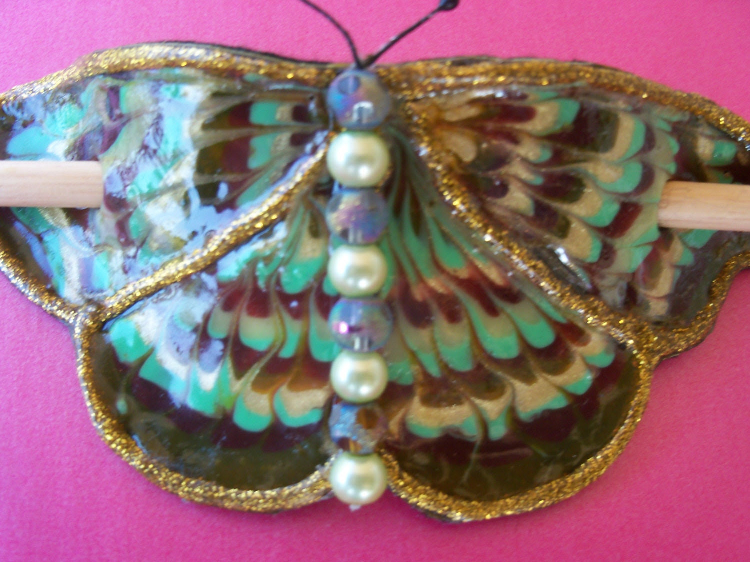 Green and Burgundy Celtic butterfly Barrette
