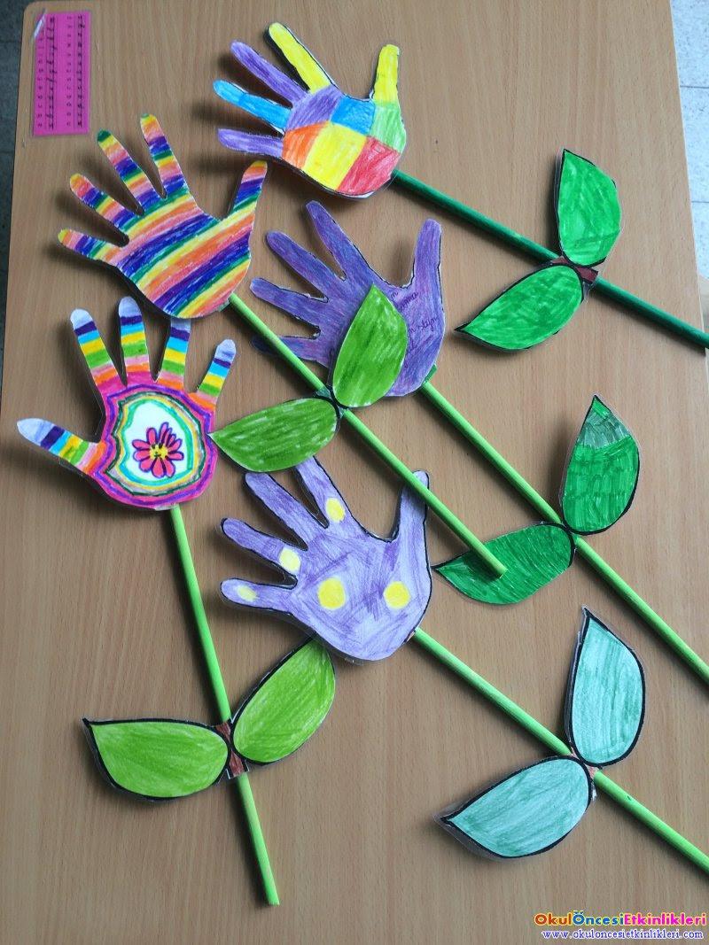 Boyama Ile El Baskısından çiçek Yapımı Okul öncesi Etkinlikleri