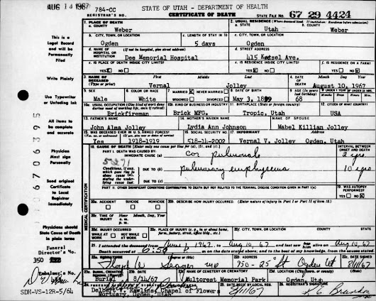 Death Certificates for 1966-1967 Indexed by Name - Utah State Archives and Records Service