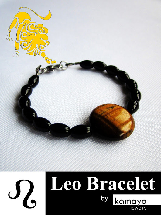 Leo Bracelet  Black Onyx and Tiger Eye by KamayoJewelry on Etsy