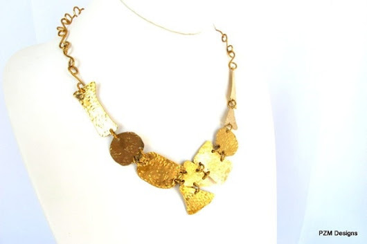 Gold brass bib hammered tribal necklace ethnic by pzmdesigns