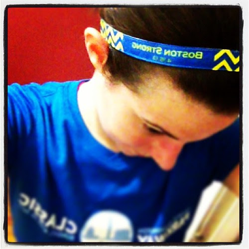 Love my Boston strong bic band. It didn't slip once on my run! #fitfluential