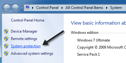 how to delete restore points in windows 7