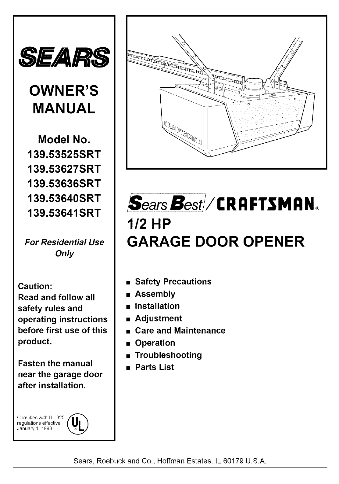 Sears Garage Door Opener 139 53636srt User Guide Manualsonline Com
