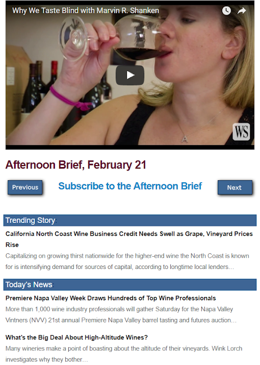 Afternoon Brief: California North Coast Wine Business Credit Needs Swell