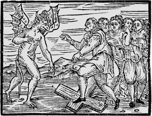 The Devil and witches trampling a cross, Malleus Maleficarum, 1608 edition
