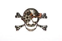 Rhinestone Skull Buckle -Black