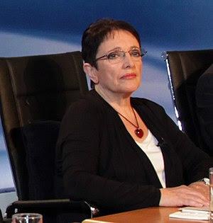 Aleka Papariga (KKE) at the six party leaders'...