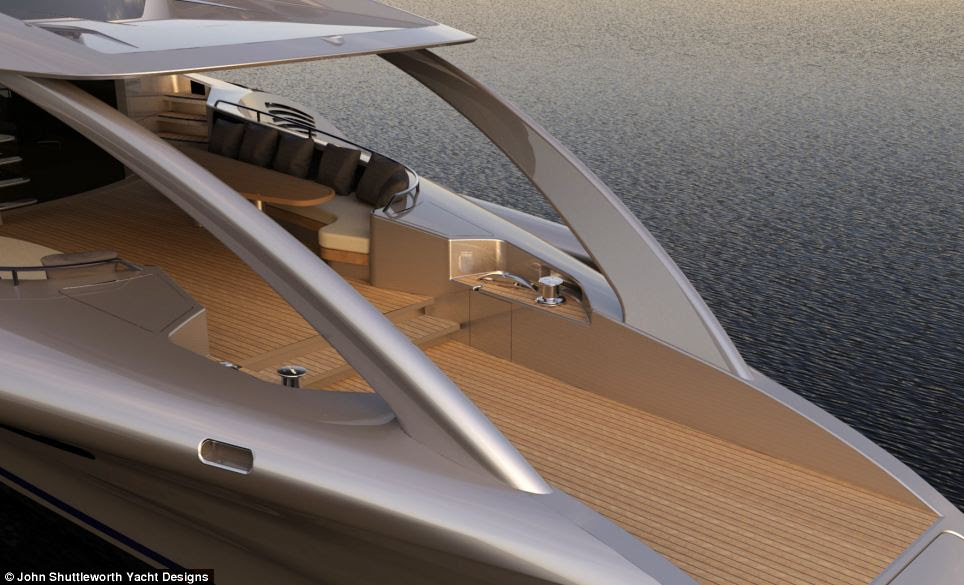 According to Shuttleworth's website, the yacht's hull is made of glass and Kevlar, while the interior consists of lightweight oak cabinetry using honeycomb panels. To reduce weight, everything on the boat was custom made