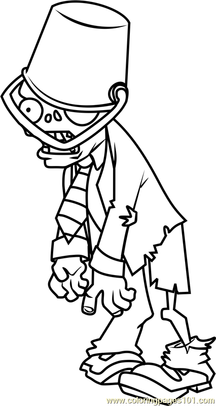 - Buckethead Zombie Coloring Page Free Plants Vs. Zombies Coloring Pages :  ColoringPages101.com - Coloring Pages