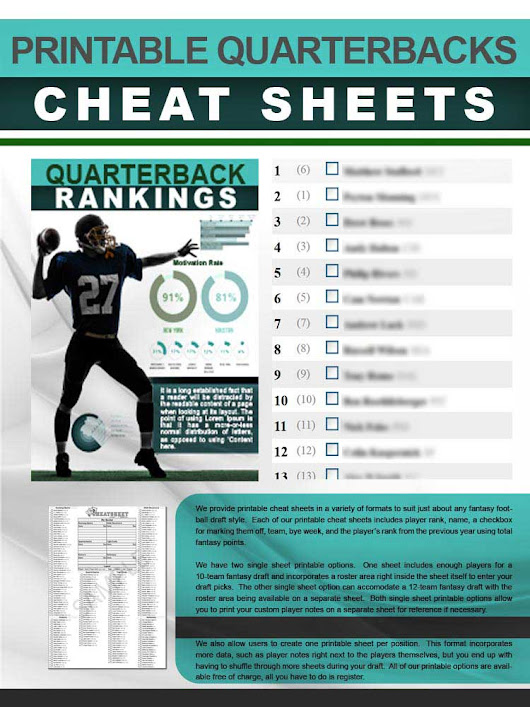 Printable Quarterbacks Cheat Sheet