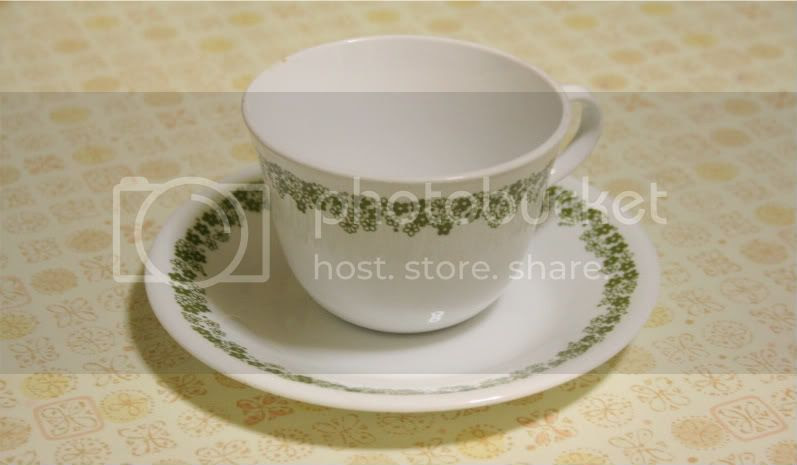 corelle vintage olive green design tea cup and saucer
