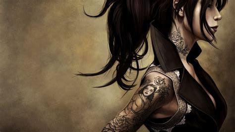 anime girl tattoos wallpaper desktop hd wallpaper