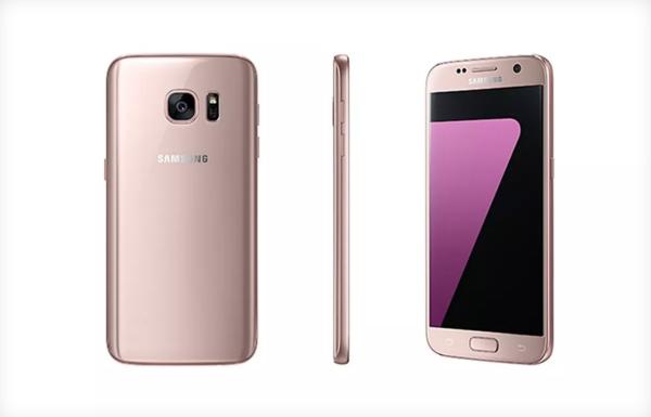 Pink golden galaxy phone