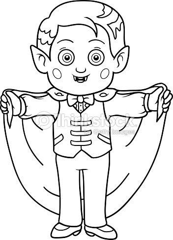 Libro Para Colorear Con Los Niños Halloween Caracteres Vampiro Arte
