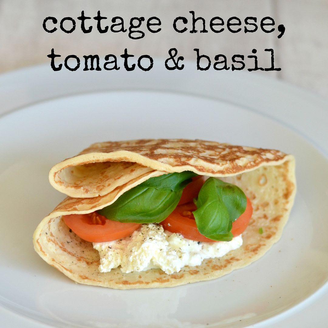 Cheese, tomato & basil pancake