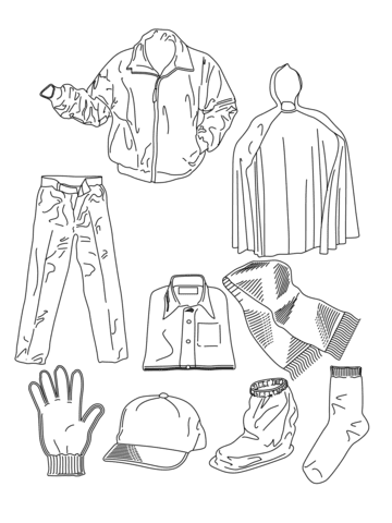 Download Various Clothes coloring page   Free Printable Coloring Pages
