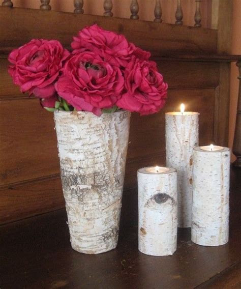 Rustic Birch Bark Vase and 3 Birch Bark Candle Holders