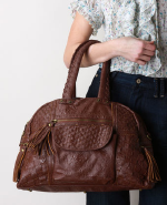 Basket Weave Handbag in Chocolate