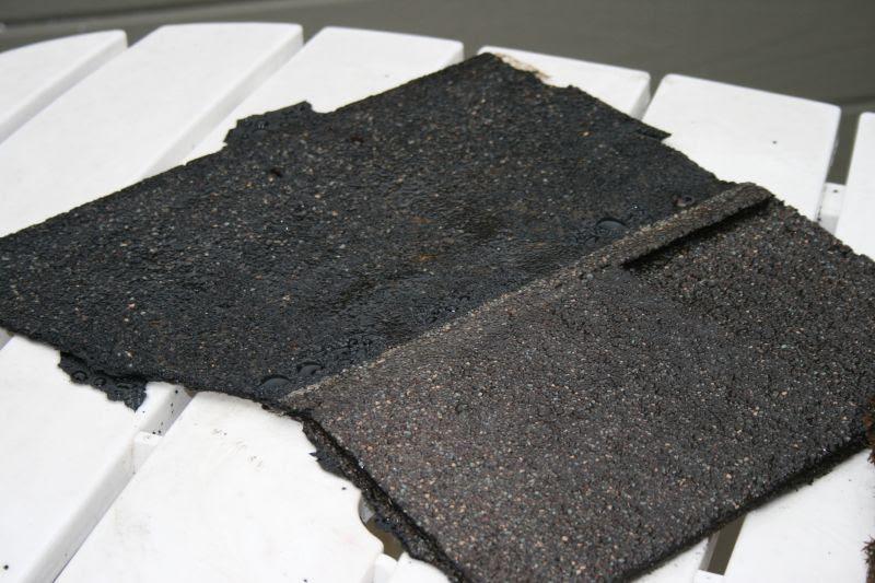 Roof tile on back deck tabletop