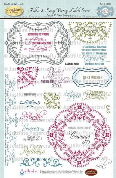 Ribbon & Swags Vintage Labels Seven Clear Stamps