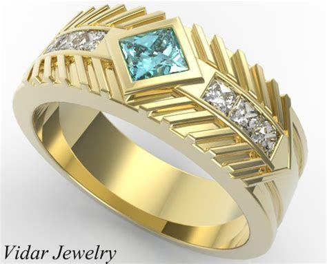 Men's Wedding Band Princess Cut Aquamarine   Vidar Jewelry