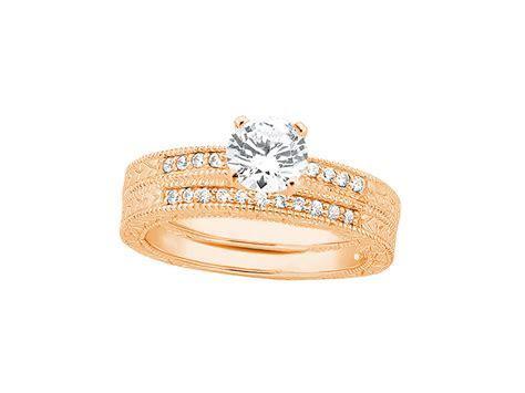 1.75Ct Round Diamond Milgrain Engagement Ring Wedding Band