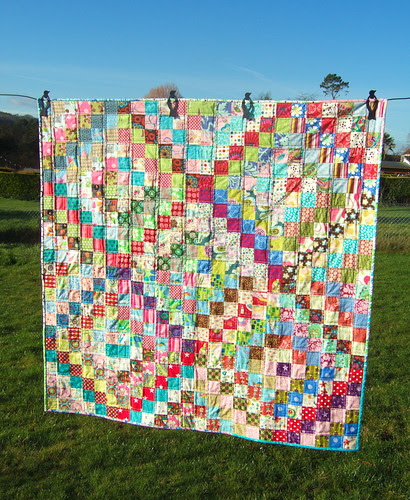 "Scrappy trip around the world lap quilt 48"" x 48"""
