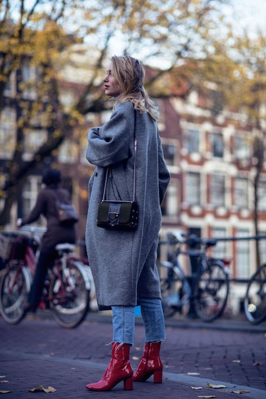Le Fashion Blog Gray Longline Coat Raw Hem Jeans Red Leather Boots Via Rebecca Laurey