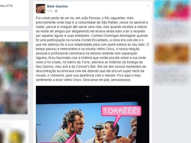 Ator Beto Quirino também fez homenagem a Domingos Montagner (Foto: Reprodução/Facebook/escambando)