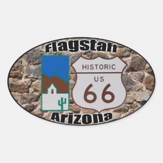 Historic US Route 66 Flagstaff Arizona Oval Sticker
