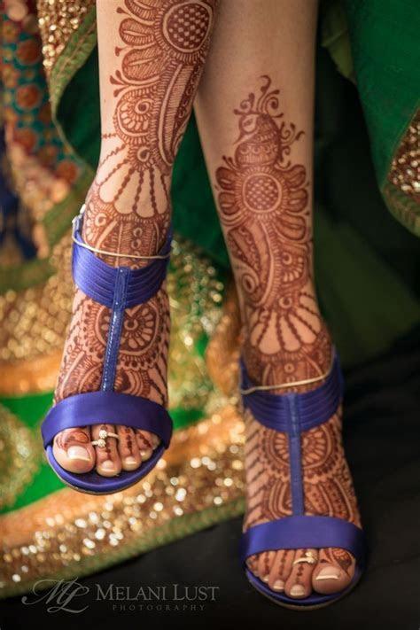 indian wedding mehndi feet purple shoes   peacock themed