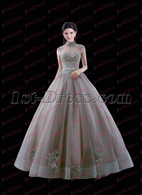 Vintage Gray High Neckline 2017 Quinceanera Ball Dress