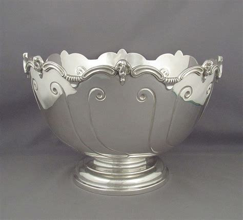 Antique Silver Monteith Style Punch Bowl   J.H. Tee Antiques