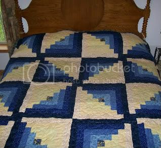 Blue and Yellow Log Cabin Quilt