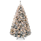 Best Choice Products Premium Pre-Lit Snow Flocked Hinged Artificial Christmas Pine