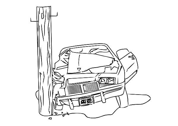 Camaro Cars Crashing Electricity Pole Coloring Pages ...