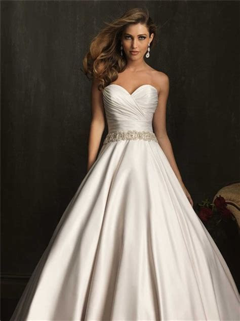 Simple Exquisite Ball Gown Strapless Ruched Beaded Satin