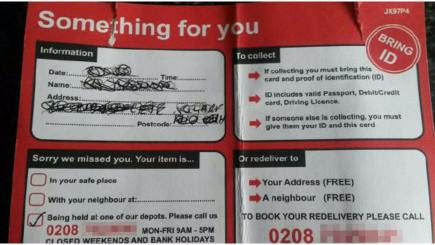 Royal Mail 'missed delivery' card you must always ignore