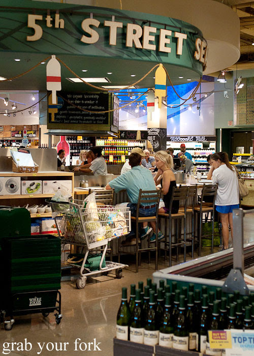 wine bar at whole foods market flagship store supermarket groceries austin texas
