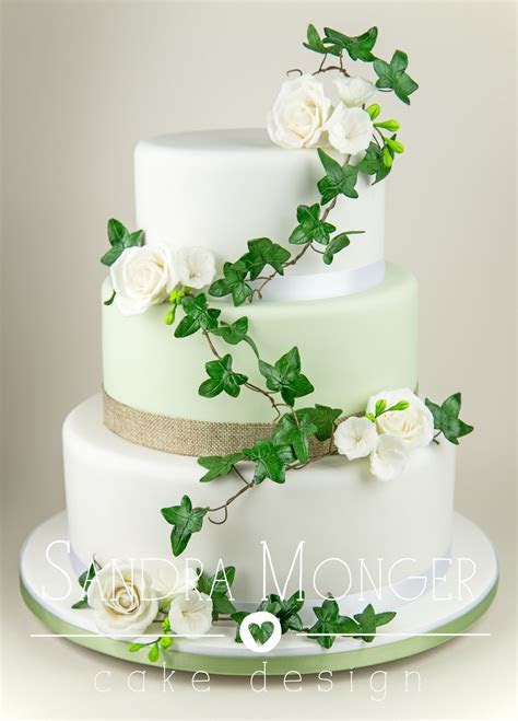 Soft Sage Green and Hessian Wedding Cake with Roses and