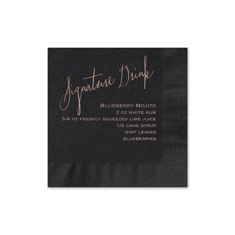 Signature Drink Foil Cocktail Napkin   Invitations By Dawn