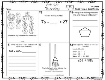 3rd Grade Texas Tornado Spiral Review Answer Key