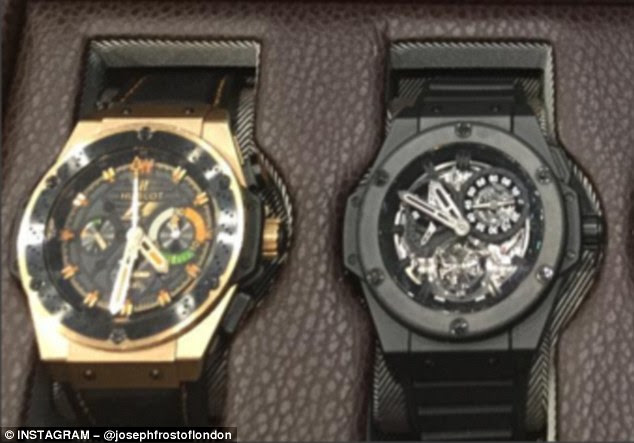 These two Hubolt watches are among Adebayor's most expensive pieces valued at about £25,000 (left) and £100,000 (right). They will need to be set to the correct time when he chooses to wear them next