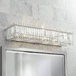 "Possini Euro Crystal Columns 30"" Wide Chrome Bath Light"