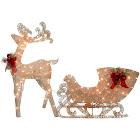 National Tree Company Reindeer and Santas Sleigh with LED Lights